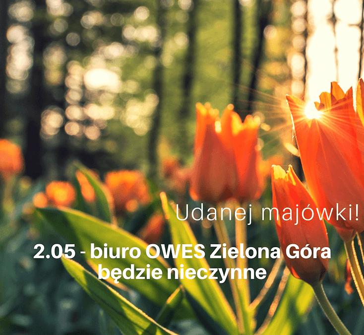 2 maja biuro OWES Zielona Góra będzie nieczynne